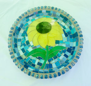Stained Glass Mosaic Sunflower Birdbath Top
