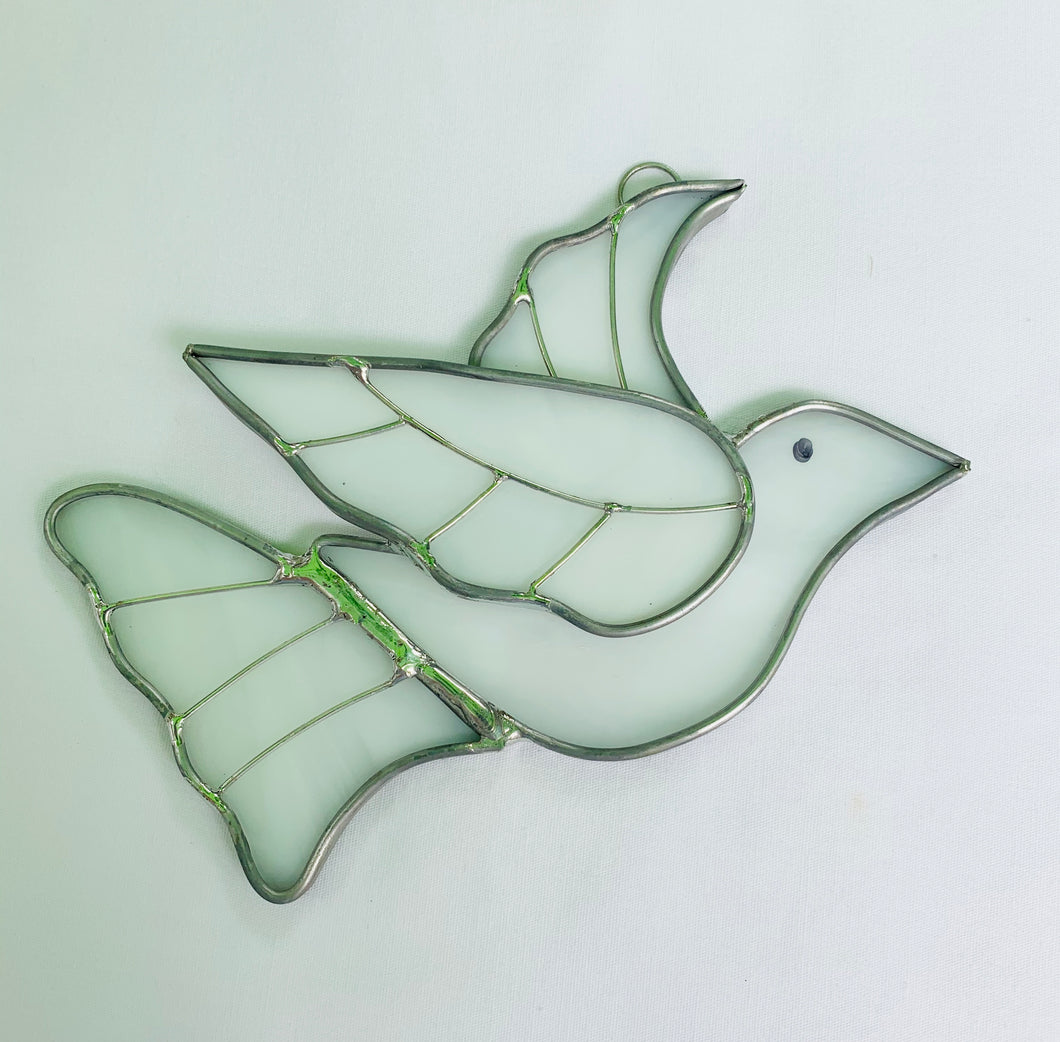 Stained Glass White Dove Suncatcher