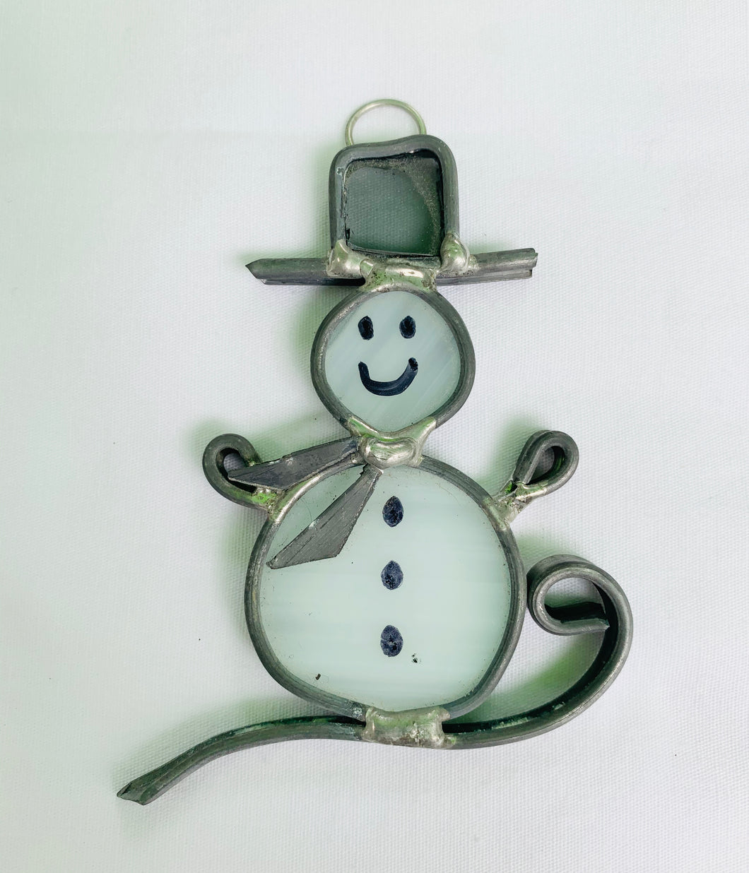 Stained Glass White Snowman Christmas Ornament