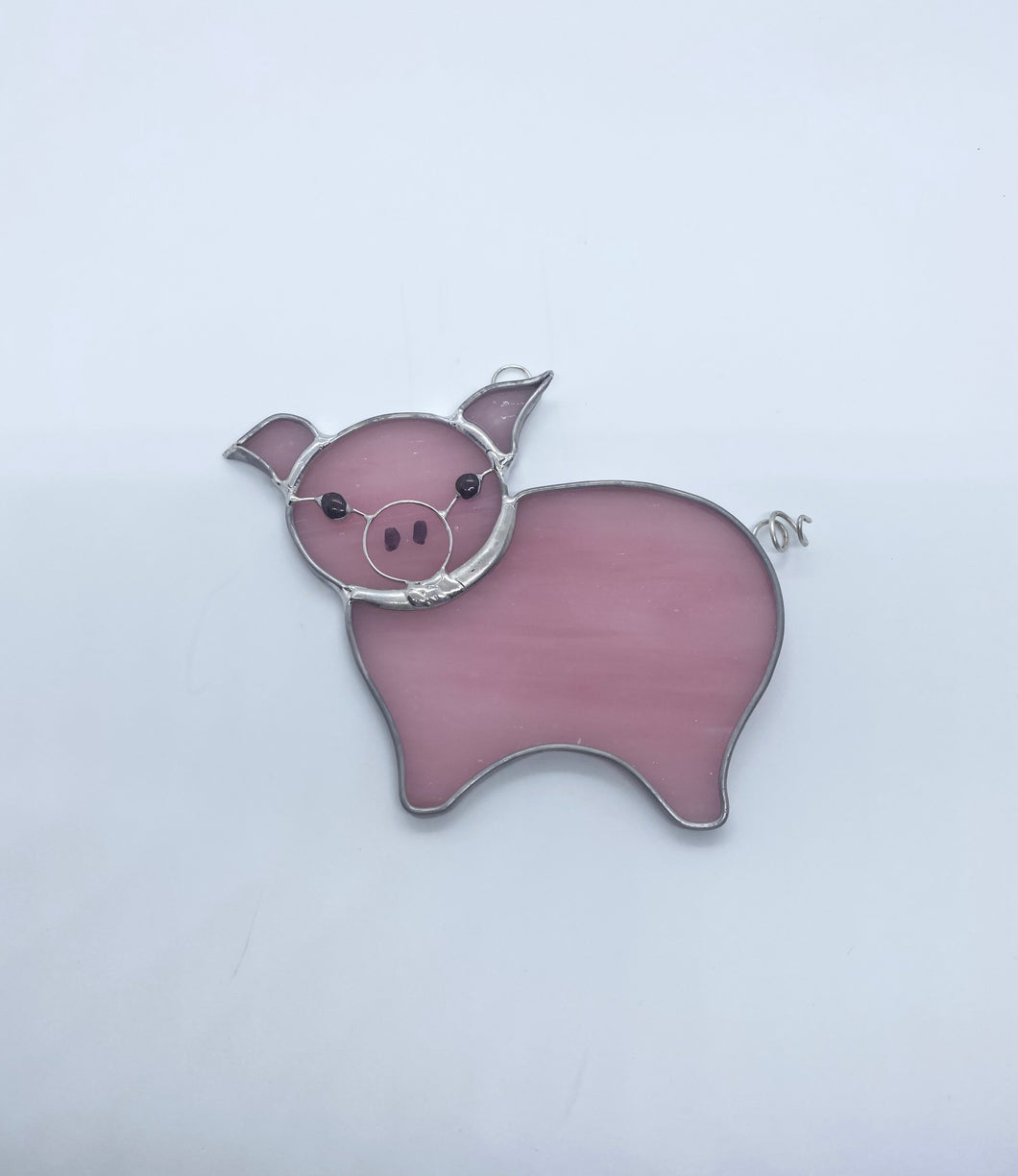 Stained Glass Pink Pig #2 Suncatcher