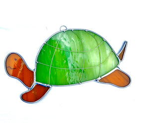 Stained Glass Large Turtle Suncatcher
