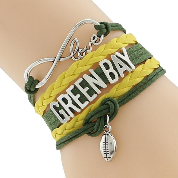 1pc Infinity Love GREEN BAY State Packers Football Team Bracelet Customized Wristband Friendship Bracelet Wording Variety