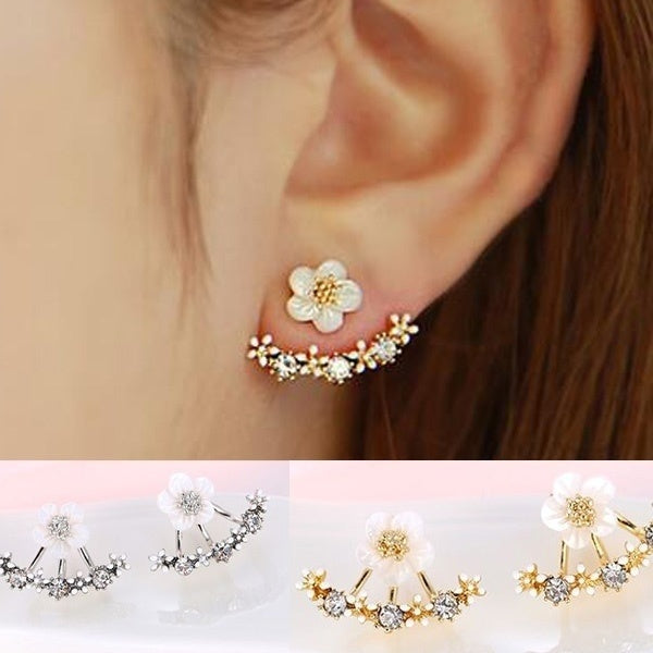 Crystal Stud Earrings Boucle Doreille Femme 2016 Fashion Flower Earrings for Women Gold Bijoux Jewelry Brincos Pendientes Mujer