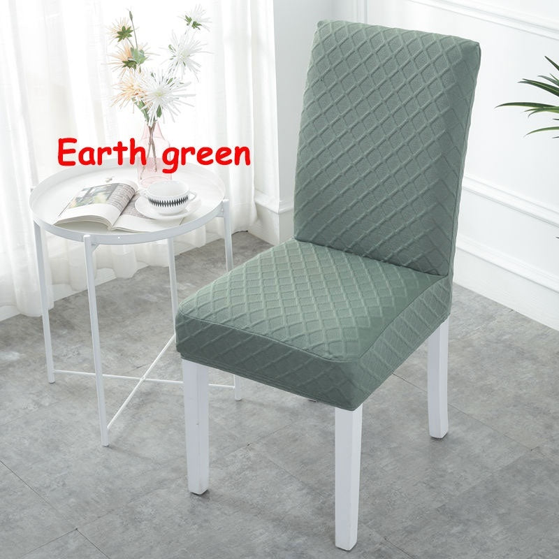 6/4 Pcs Thick Skidproof Knitted Checked Plaid Chair Cover Plus Size striated pure color Seat Covers