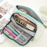 11 Styles Large Capacity Double Zip Pen Pencil Case School Stationery Cosmetic Bag Gift Pouch Holder Box