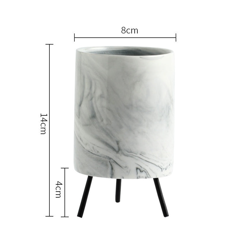 Nordic Minimalism Style Marble Pattern Ceramics Iron Art Vase Tabletop Flower Pot Home Wedding Living Room Decoration