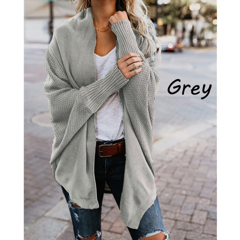 Women's Fashion Casual Loose Long Bat Sleeve Knitted Cardigan Sweater Tops Outwear Coat Warm