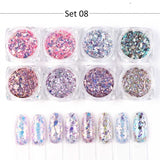 8 Box Nail Glitter Sequins Set Gold Sliver Mix Hexagon Round Flakes Chrome Nail Art Powder Dust Manicure Nail Decoration