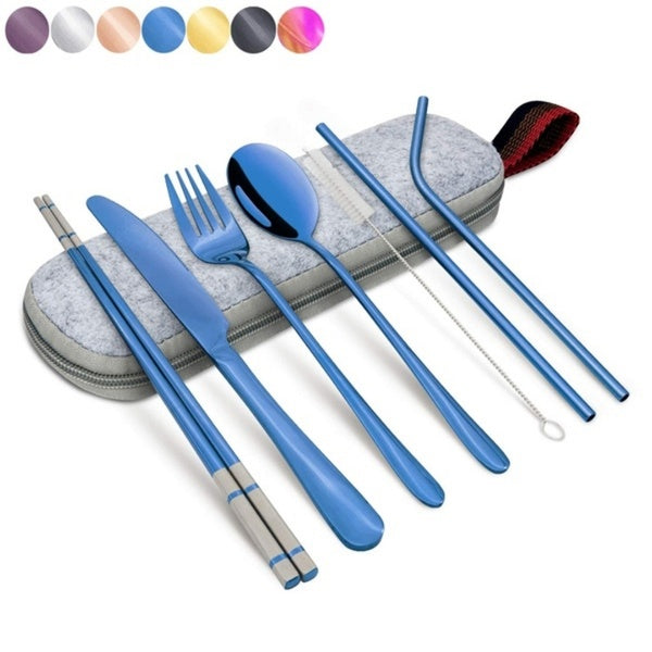 New 7 Color Portable Tableware Stainless Steel Set, Silver Travel Portable Cutlery Set, with Box and Straw, Straight Straw, Knife, Fork, Spoon, Chopsticks, Cleaning Brush Set of 8