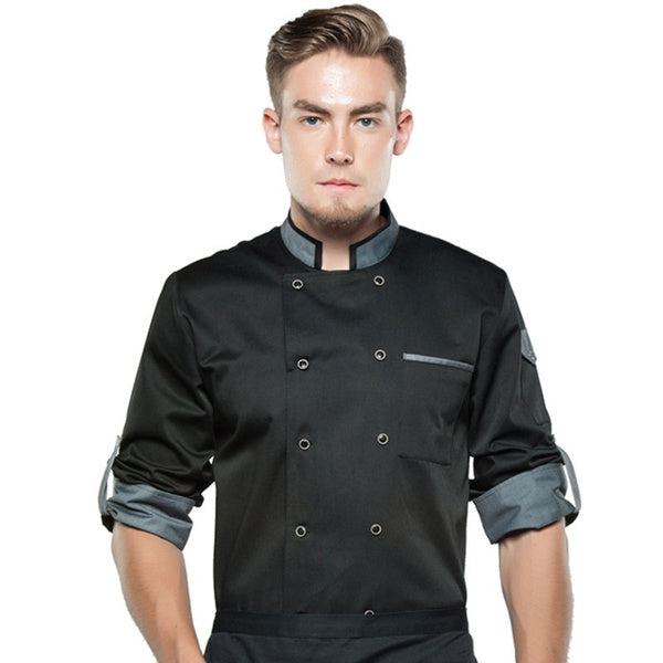 Chef Jacket Long Sleeve Men Women Unisex Cook Coat Restaurant Hotel Kitchen Wear Waiter Uniform(Only Jacket)