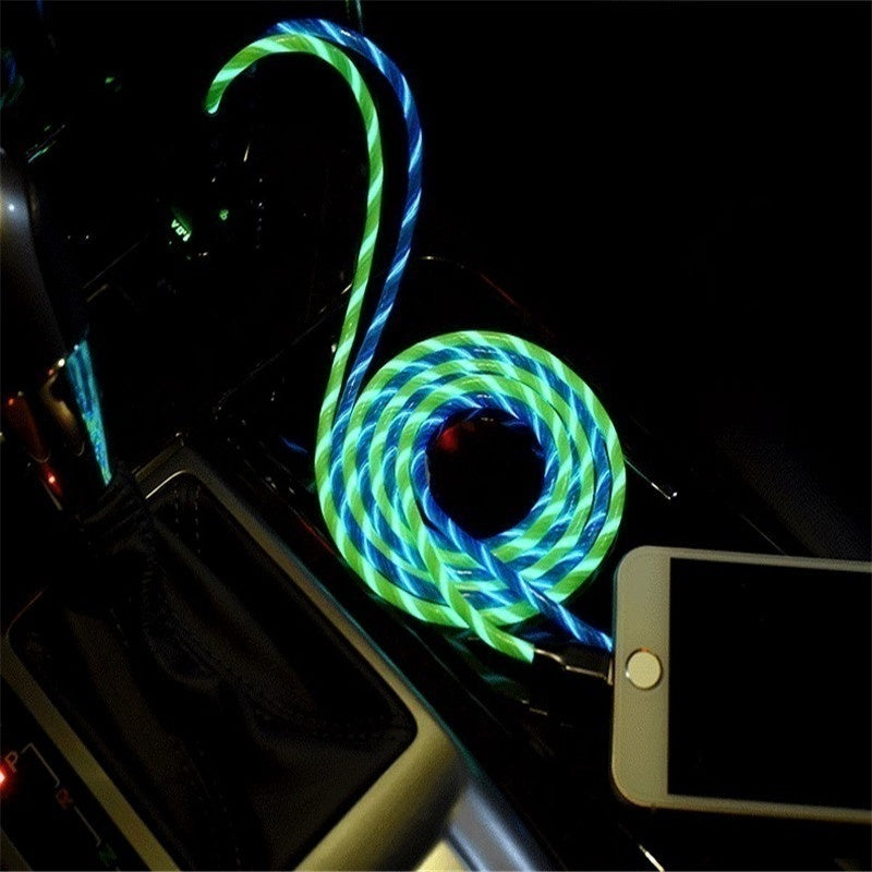 5 Color Rainbow Fluid LED Lighting Cables Micro USB Data Cable Fast Charging Cable for iPhone Android Phones