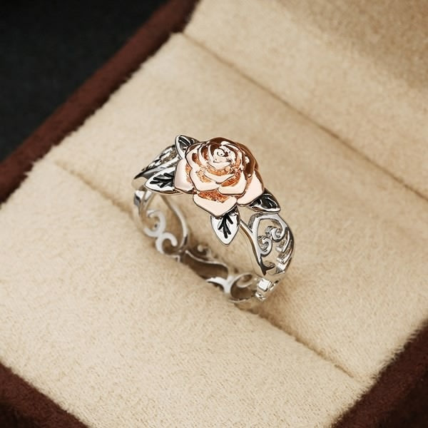 Exquisite Two Tone 925 Sterling Silver Floral Ring Solid 14k Rose Gold Fashion Flower Jewelry Proposal Anniversary Gift Engagement Wedding Band Rings for Women Size 5 - 10
