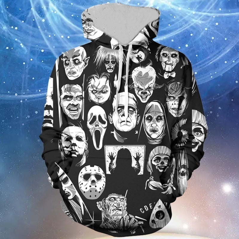 New Fashion Unisex Hoodie Tops Men Women Women Men Long Sleeve 3D Hoodies with Pocket Creative Horror Skull Print Pullover Hooded Sweatshirt Plus Size S-5XL
