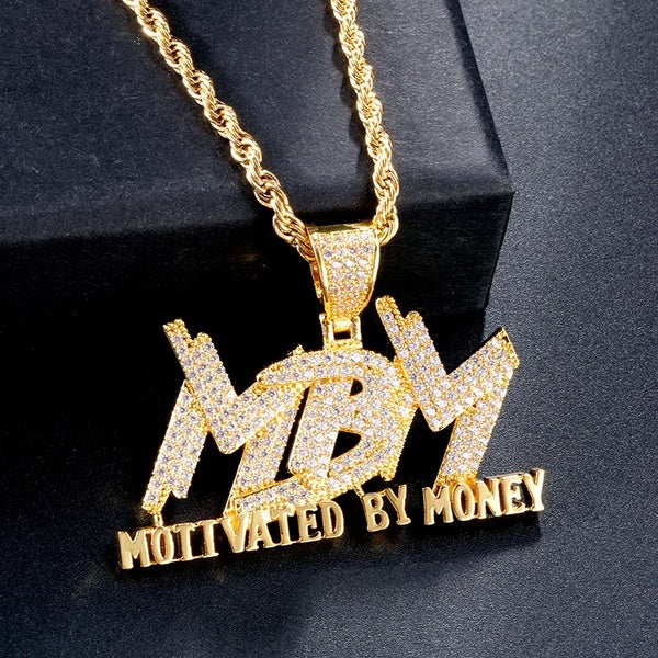 Hip Hop Men and Women Cubic Zircon MBM Letter Pendant Iced Out Full Diamond Necklace Jewelry Gift