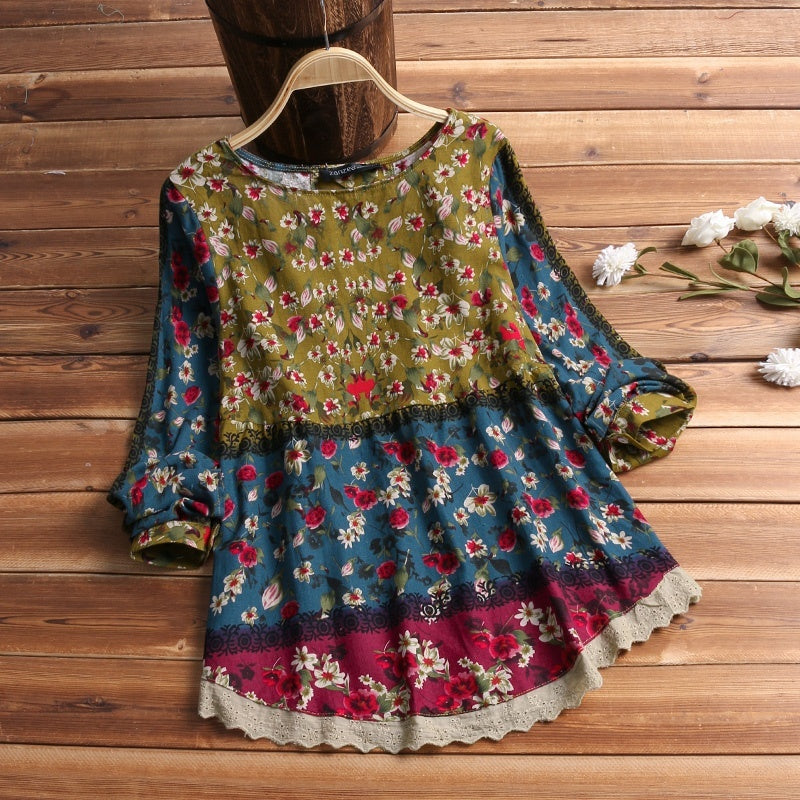 ZANZEA Women Round Neck Long Sleeved Shirts Floral Tunic Tops Loose Ethnic Blouse