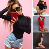 Fashion Long Sleeve Bodysuits High Collar Autumn Sexy Bodycon Bodysuit Jumpsuits Women Skinny Tops Blouses