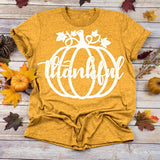4 Colors Thanksgiving Top Halloween T Shirt Pumpkin Print Tee Women T Shirts Loose Short Sleeve Tee Gift Tee Funny Graphic Tee