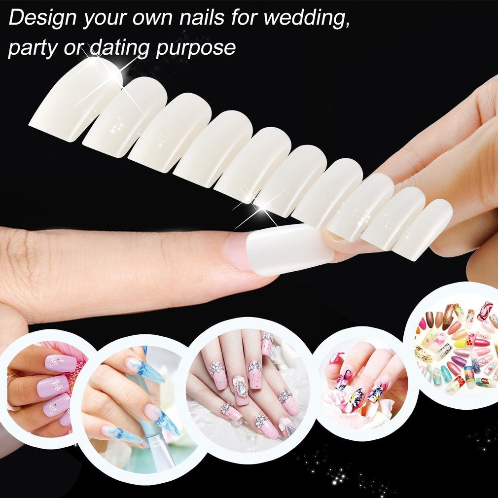 False Nails Tips Practice Polish Gel Artificial Fake Nail Art Transparent