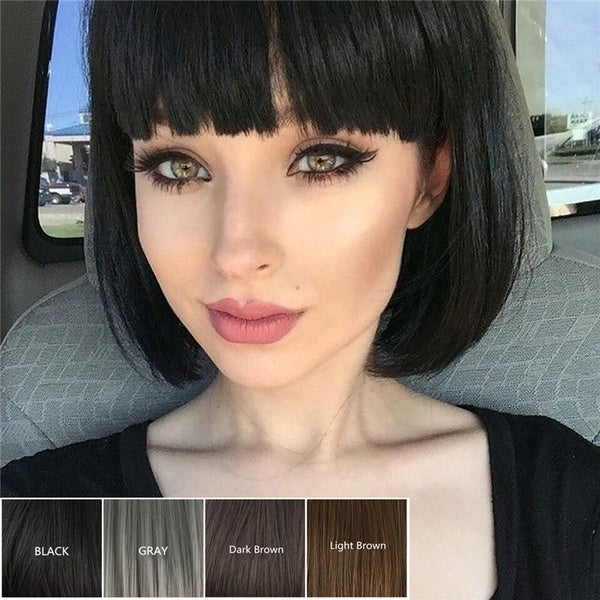 Short Bob Style Wig Women's Short Straight Full Hair Wigs Cosplay Party Black Brown Cosplay Wig