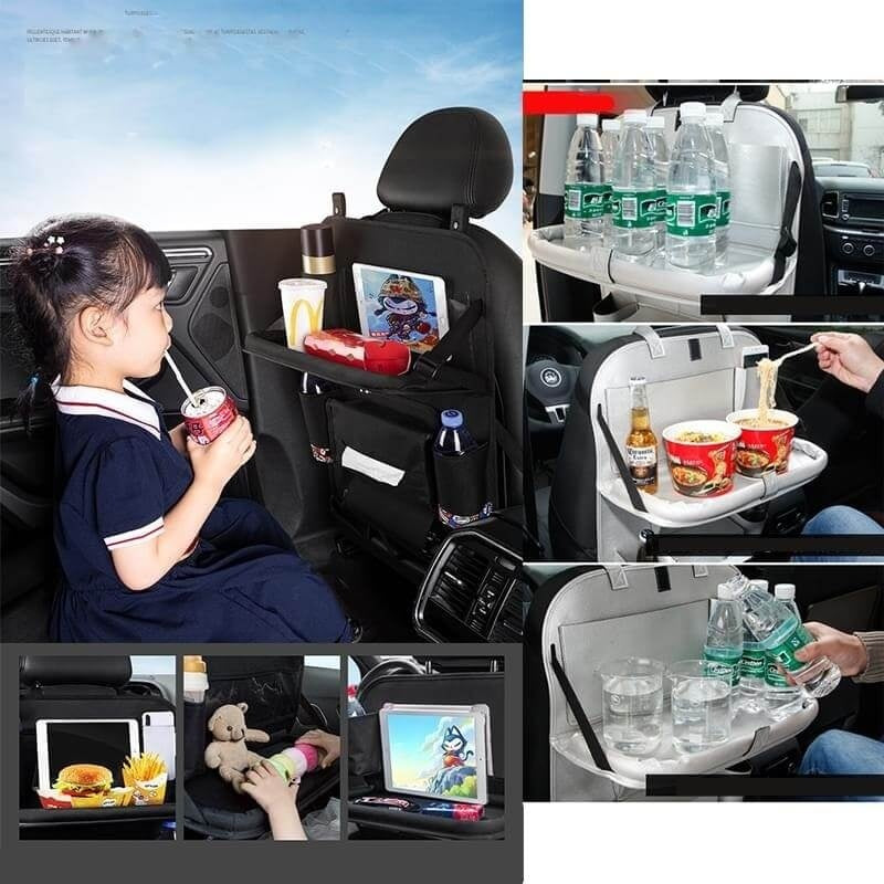 Car Backseat Organizer, Auto Seat Back Protector with 4 USB Charging Port/Foldable Tray,Multiple Durable Pocket to Keep Toys, Bottles,Toddlers
