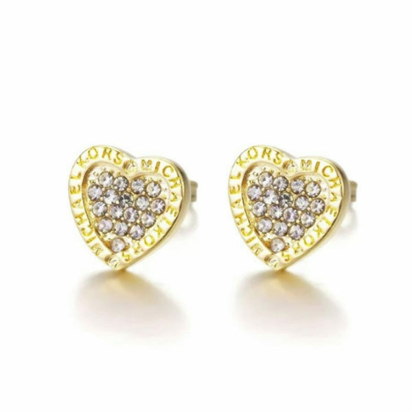 Fashion 18K Yellow Gold Filled White Zircon Gemstones Birthstone Heart-shaped Ear Studs Earring Bride Princess Wedding Engagement Ring