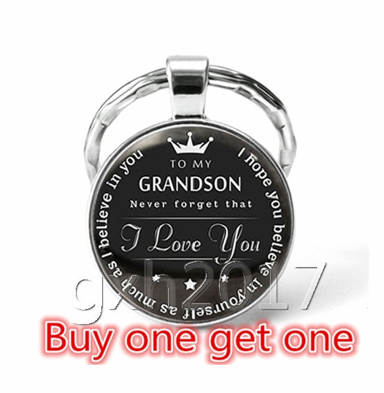 To My Grandson Granddaughter Fashion Glass Keychain, Grandson Granddaughter Gift,Grandson Granddaughter Keychain