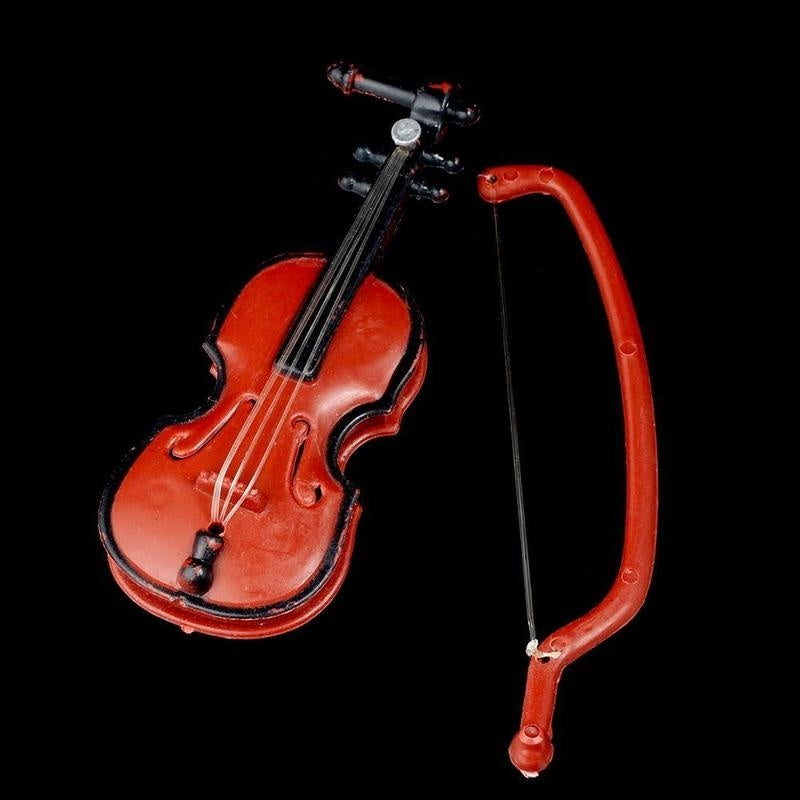 Mini Violin Miniature 1:12 Dollhouse Decorative Ornaments Music Instrument DIY Decoration