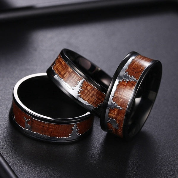 Black Tungsten Hunting Ring Wedding Band Wood Inlay Deer Stag Silhouette Ring Christmas Gift