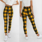 Women Plaid Pants High Waist Elastic Zipper Striped Plaid Casual Trousers