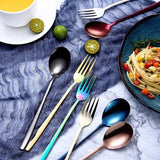 7PCS/Set Portable Stainless Steel Cutlery Set with Box and Straw, Knife and Fork, Spoon, Cleaning Brush