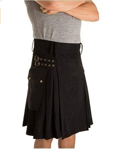 Plus Size Men Fashion Irish Kilt Men Military Camo Metal Straps Utility Kilts Vintage Style Pocket Kilts Solid Color Gothic Warrior Cargo Kilt Pleated Skirt