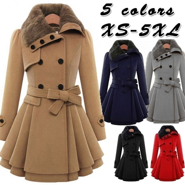 Womens New Style Vintage Woolen Coat Double Buckle Slim Trench Coats Lady Fur Collar Peacoat Winter Woolen Coat Jackets Outwear Plus Size 5XL