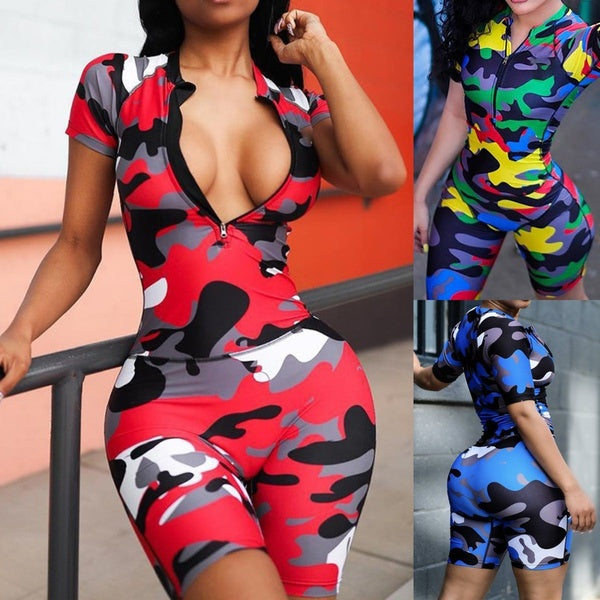 Women Summer Camouflage Jumpsuit Short Sleeves Zipper Sexy Romper