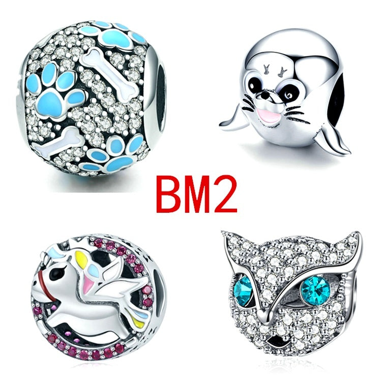 NEW 4pcs Set Fashion 925 sterling Silver Seal unicorn fox Pando pendant European and American CZ Charm Crystal Big Hole Spacer Beads Pendant Fit Necklace Bracelet DIY Jewelry Making Christmas gift