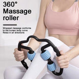 New Durable Waist Yoga Fitness Ring Leg Care Rotating Wheels Massage Roller Muscle Relaxer U Shape Trigger Point Massage Roller
