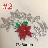 Christmas Floral Decorations Greeting Card Making Cutting Dies Flowers Metal Mold for DIY Scrapbooking Paper Cutting Template