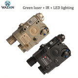WADSN Airsoft PEQ 15 laser pointer battery box has green laser + infrared aiming + LED white light illumination function (color: black, sand)