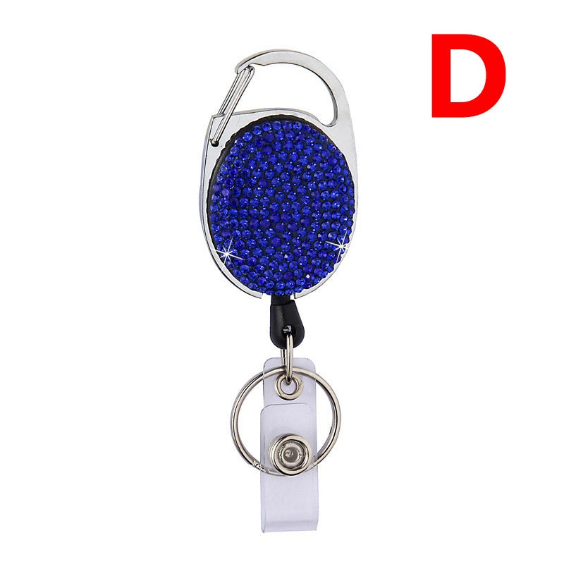 Retractable Anti-lost Pull Keychain Lanyard ID Badge Holder Name Tag Card Recoil Reel Belt Clip Bling Rhinestone Stretchable Key Ring Easy To Pull Metal Retractable Keychain
