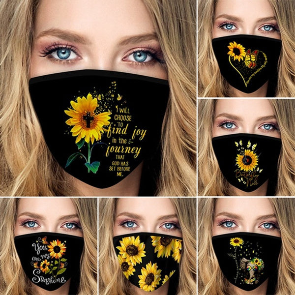 Summer Breathable Sunflower Butterfly Printing Cover Unisex Dustproof and Windproof Cotton Half Face Black Cover