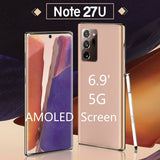 6.9 Inch Super AMOLED Screen 5G Smartphone with Face Recognition Fingerprint Unlock Note 27U Smart Mobile Phone --Support 128GB SD Card
