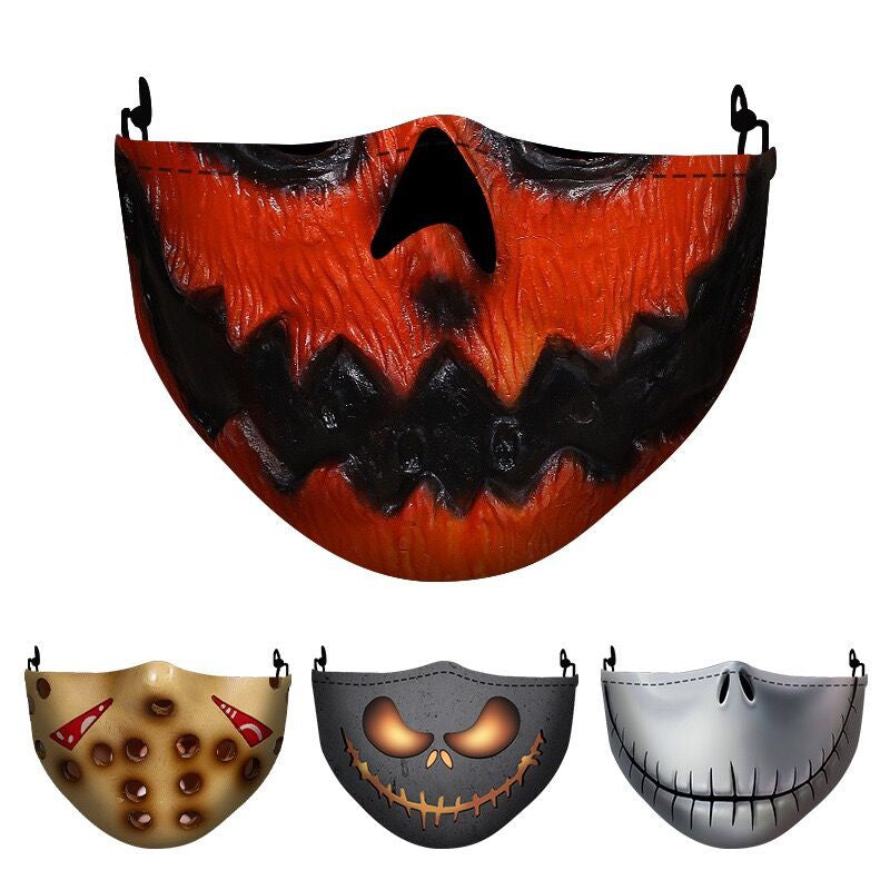 11 Styles Halloween Mask Funny Scary Fashion Washable Reusable Face Mask