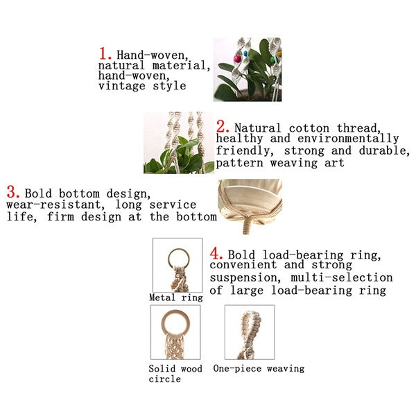 10 Types Different Tiers Macrame Plant Hangers Handmade Cotton Rope Flower Pots Holder Stand