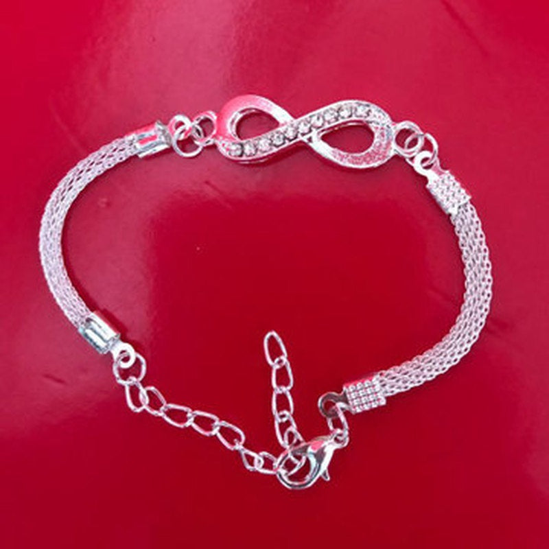 1Pc New Arrived Fashion Silver Infinity Bracelet Jewelry For Women Lovely Gift