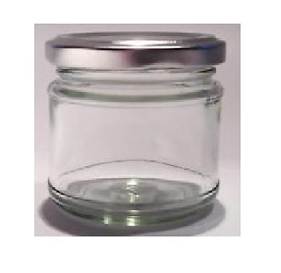 20 x Small 1oz, 30ml, 28g Mini Glass Jars with Silver Lids