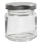 10 X 41ml Small 1.5oz MINI GLASS JARS SILVER LIDS