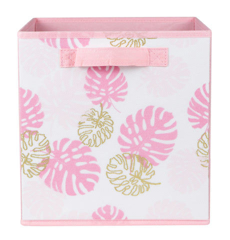 Pink Monsteria Leaf Printed Cube
