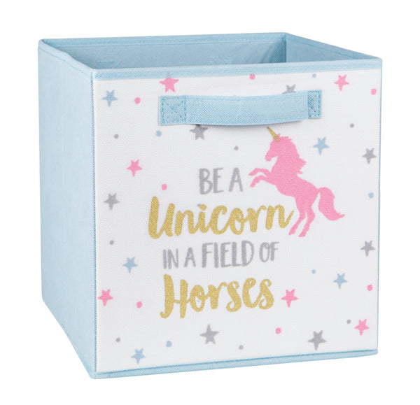 Unicorn Printed Fabric Storage Cube