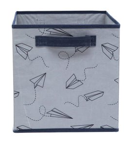 Grey Planes Printed Fabric Storage Cube