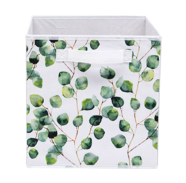 Eucalyptus Leaf Printed Fabric Storage Cube
