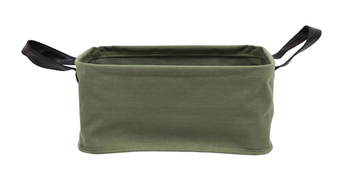 Khaki Fabric Storage Basket with Leather Look Handles
